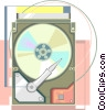 Hard disk in a neo technical illustration Vector Clip Art picture
