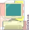 Vector Clip Art graphic  of a computer in a neo technical