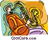Vector Clip Art graphic  of a man playing saxophone