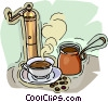 Vector Clipart graphic  of a coffee grinder coffee pot