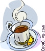 Vector Clip Art image  of a cup of tea with lemon