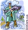 Vector Clipart image  of a Man showing off fish he caught