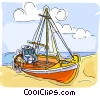 Fishing boat on beach Vector Clip Art picture