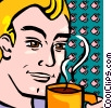 man smelling his coffee Vector Clipart picture