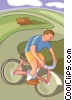 Boy riding bike Vector Clipart picture