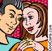 Vector Clipart graphic  of a Man giving girlfriend diamond
