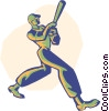 baseball, batter, baseball player Vector Clipart illustration