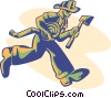 Vector Clip Art image  of a firefighter