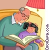 Grandfather reading a book with his granddaughter Vector Clip Art picture