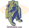 Vector Clip Art graphic  of a man reading news paper