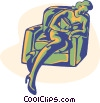 read, reading, relaxing Vector Clipart image