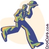 Vector Clipart illustration  of a waiter bringing food