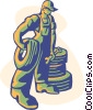 mechanic carrying tire Vector Clip Art graphic