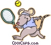 mouse playing tennis Vector Clipart image