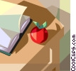Teachers desk with apple Vector Clipart illustration
