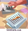 Vector Clipart picture  of a person working on calculator