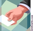 Vector Clipart graphic  of a handing out business card