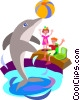 Vector Clip Art image  of a dolphin playing in a pool