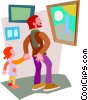 Vector Clipart graphic  of a man and child admiring a painting
