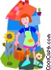 woman with watering can in her garden Vector Clip Art image