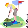 man golfing, final putt for a birdie Vector Clip Art graphic