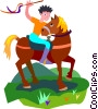 Boy on horseback Vector Clip Art image