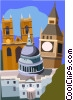 Vector Clipart image  of a St Paul's Cathedral  Big Ben