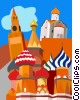 Moscow, Grand Kremlin Palace, St. Basil's Cathedral Vector Clipart illustration