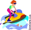 Vector Clip Art graphic  of a boy playing on a jet ski