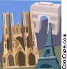 Notre Dame, Reims, Eiffel Tower, Arc de Triomphe Vector Clipart picture