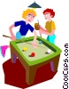 Vector Clipart illustration  of a Teenagers playing billiards