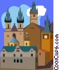 Czech Republik ,Prague's Old Town Square Vector Clip Art image