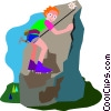 boy mountain climbing Vector Clipart picture