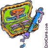 Vector Clip Art graphic  of a fountain pen with travel case