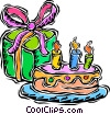 birthday cake with candle Vector Clipart picture
