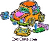 toys, building blocks, toy car Vector Clip Art picture
