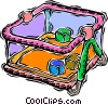 Vector Clip Art graphic  of a play pen