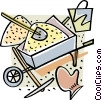 Vector Clip Art image  of a wheelbarrow with sand and