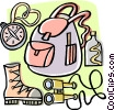 Backpacker or hiker's equipment Vector Clip Art graphic