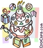 Birthday cake with party favors Vector Clipart image