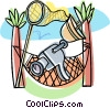 video camera with hammock and butterfly net Vector Clipart graphic