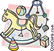 child's rocking horse with play toys Vector Clipart picture