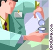 Vector Clipart graphic  of a lab technician with a test