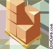 Vector Clip Art graphic  of a skid with shipping boxes or