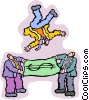 business men flipping a colleague in the air Vector Clipart picture