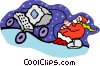 Vector Clipart picture  of a Santa with his computer sleigh