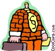salesman with brick jacket representing strength Vector Clipart illustration