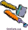 Vector Clip Art image  of a hole punch with mallet