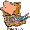 artist's paint box with brushes and palette Vector Clipart graphic