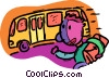 child running for bus Vector Clipart graphic